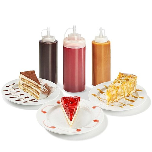 1PC Food Grade Condiment Squeeze Bottles For Ketchup Mustard Mayo Hot Sauces Olive Oil Bottles BBQ Sauce Bottle Kitchen Tools
