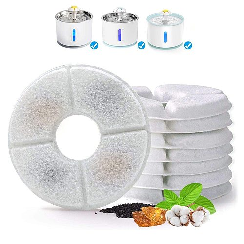 Replacement Activated Carbon Filter For Cat Water Drinking Fountain Replaced Filters Flower For Pet Dog Round Fountain Dispenser