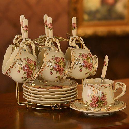 European Style Coffee Cup Set Afternoon Tea Cup Saucer Set Ceramic Coffee Cup Set With Saucer Spoon & Handle Rack