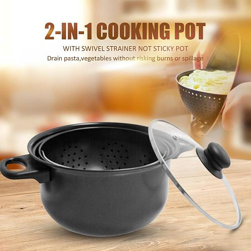 2-in-1 Cooking Pot With Swivel Strainer Food Pasta Vegetables Drains Out Pot  Seafood Potatoes Steam Pot Kitchen Cooking Tool