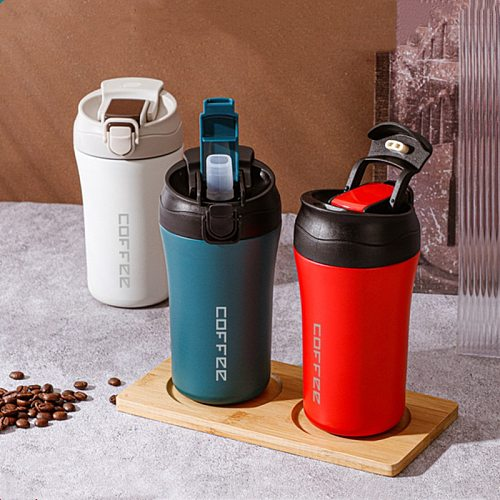 400ml Double Stainless Steel Coffee Thermos Mug With Straw Multifunctional Car Vacuum Flask Portable Travel Insulated Cup