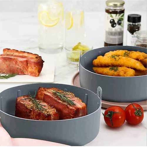 Multifunctional Air Fryer Silicone Pot Air Fryers Oven Tools Bread Fried Chicken Pizza Basket Baking Tray Kitchen Accessories