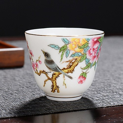 Animal master cup Porcelain tea cup bird pattern painted ceramic teacup vintage small tea bowl accessories