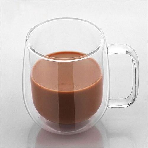 350ml Coffee Cup Milk Mug High Quality Double Wall Transparent Round Insulated Glass Mug Coffee Tea Cup Drinkware Creative Gift