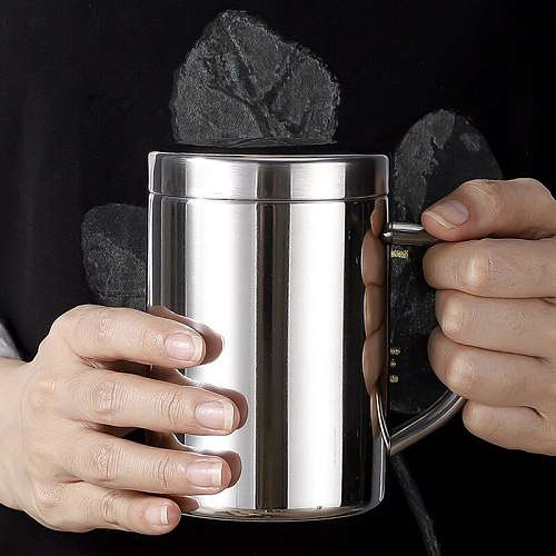 Double Wall Stainless Steel Coffee Mug with lid Portable Cup Travel Tumbler Coffee Jug Milk Tea Cups Double Office Water Mugs