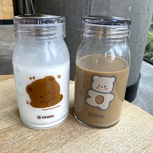 Ins simple Korean cartoon printing milk cup creative student transparent glass large capacity