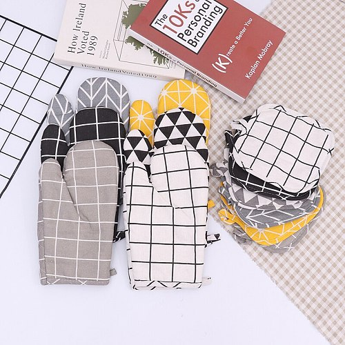 Non-slip Cotton Fashion Kitchen Cooking Microwave Gloves Baking Oven Mitts