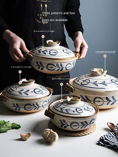 Japanese-Style Earthen Casserole Stew Pot Household Gas Chinese Casseroles Soup POY Ceramic High Temperature Resistance