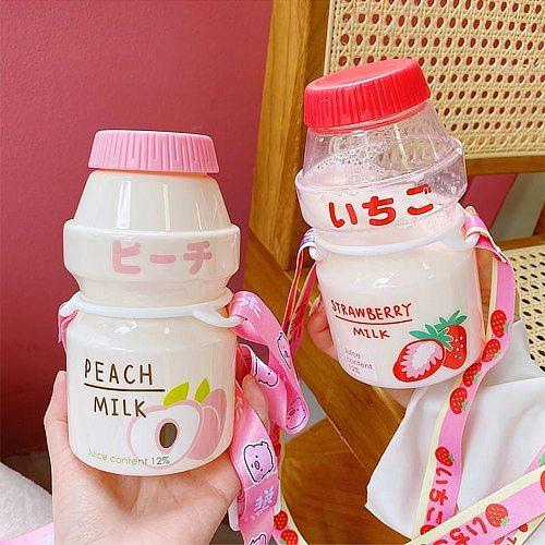 480ml Fruit Plastic Water Bottle Yakult Shape Cute Bottle Tour Drinking Cup Kawaii Milk Carton Shaker Bottle for Kids/Girl/Adult