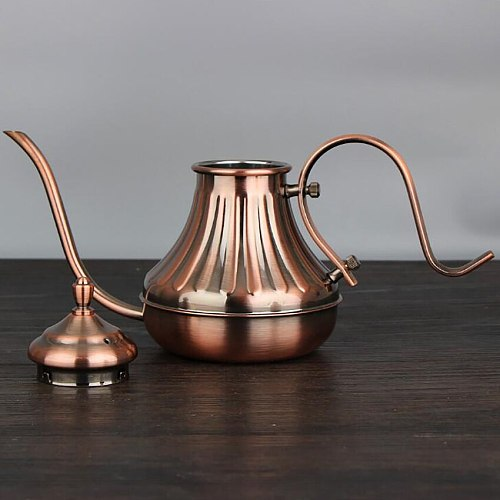 304 Stainless Steel Coffee Pot Classic Design Palace Noble Kettle Long Mouth Hand Coffee Maker Bronze Teapot Leisure Time Drink