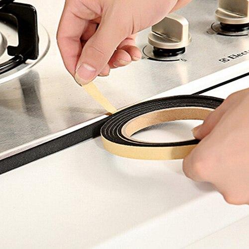 2M Kitchen Black Self-adhesive Door Window Sealing Strip Black Gas stove slit strip Antifouling Dustproof Waterproof Dusting Sea