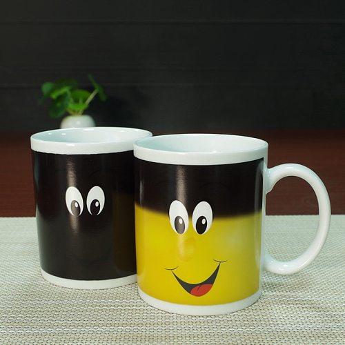 New Arrive Smile Temperature Sensing Color Changing Mug Magical Chameleon Coffee Mug Milk Tea Cup Novelty Gifts 330ml