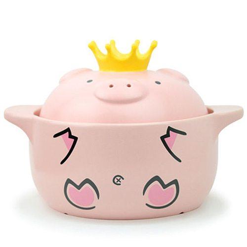 Big deal 1000Ml Pink Pig High Temperature Resistance Casserole Handle Ceramic Cooker Kitchen Supplies