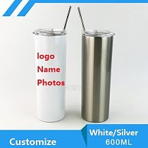 600ML Customize Tumbler Thermos  Photo LOGO Colorful Printing Insulated Stainless Steel Vacuum Coffee Juice Tea Milk Summer Gift