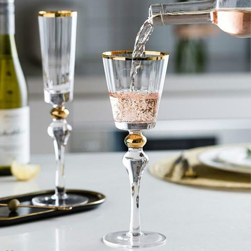 280ml Pumpkin Pattern Gold Red Wine Glass High Quality Goblet Champagne Cup Restaurant Club Family Crystal Wine Drinkware