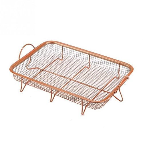 Metal Copper  Tray Microwave Oven Copper Baking Tray BBQ Tray Fry Pan Non-stick Chips Basket Baking Dish Grill Mesh Kitchen Tool