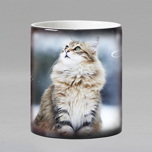 Free shipping Lovely CAT Heat Reveal Mug Ceramic Color Changing Coffee Mugs Magic Tea Cup Mug as gift for friends