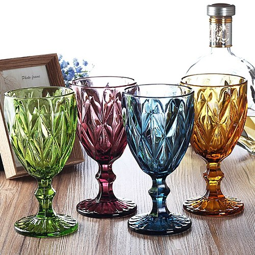 Wine Glass Cups Multicolor Carved Goblet Whiskey Red Wine Glasses 300ML Wedding Party Champagne Flutes Bar Restaurant Home Tools