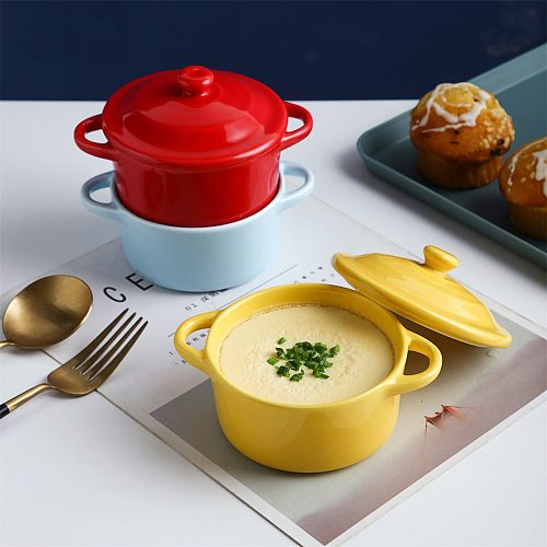 Small Ceramic Casserole Soup Pot with Handle Ceramic Cooking Pot Milk Egg Stew Pan Kitchen Cookware Pots Cooker Colourful