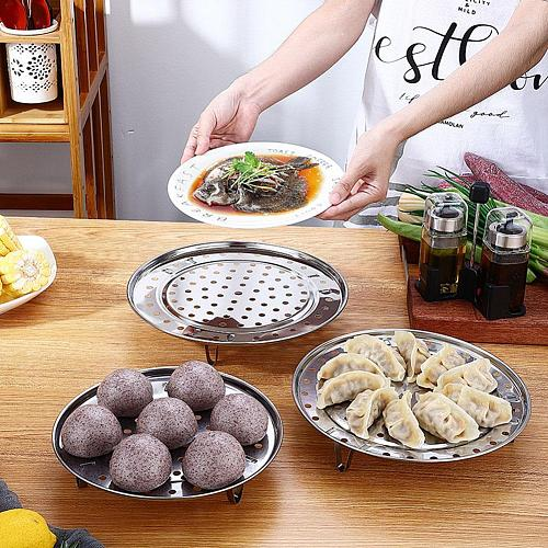 Multifunctional Home Kitchen Round Shape Steel Steamer Stand Cookware Steaming Insert Tool Tray Stock Pot Rack L1G4