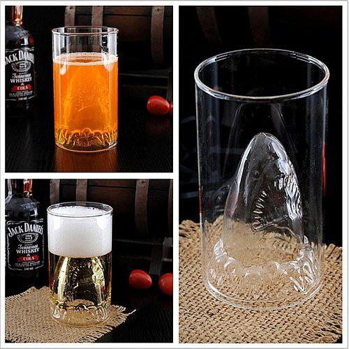 1 Piece Floating Shark Attack Shot Glass Mug / Creative Shark Drinking Glass Cup Deep-sea Shark Drinking Glass