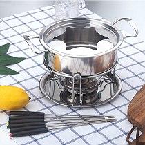 10-Piece Set Stainless Steel Chocolate Melting Pot Cheese Fondue Set Kitchen Accessories