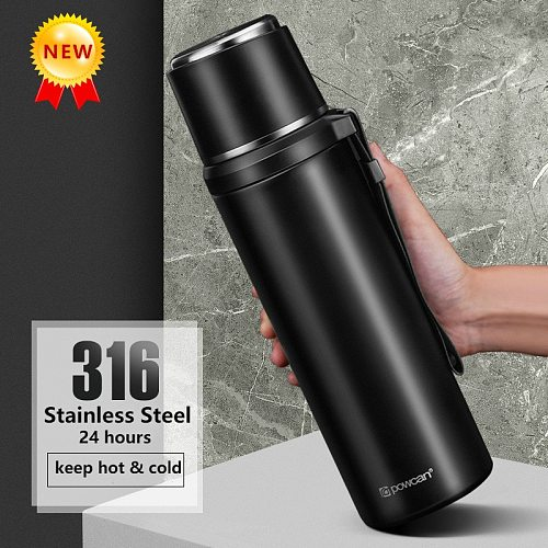 Creativity500ml/800ml/1000ml Thermos Mug 316 Stainless Steel Vacuum Flask Portable Thermos Bottle for Office TravelHikingCycling