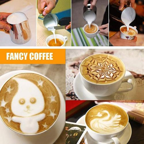 1PC Stainless Steel Frothing Pitcher Pull Flower Cup Cappuccino Coffee Milk Mugs Milk Frothers Latte Art Home Kitchen Coffeeware