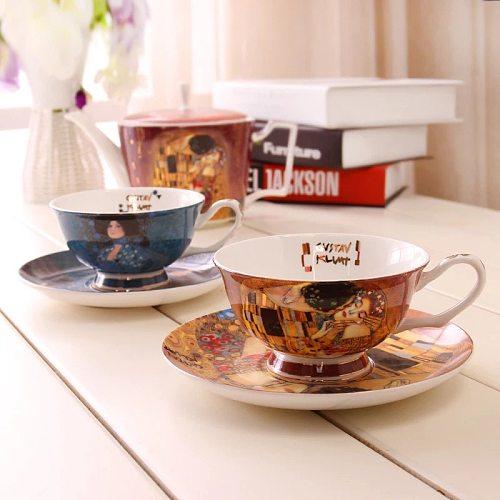 Creative European bone china coffee mugs suit simple afternoon tea cup Gustav Klimt Art paintings lw0326459