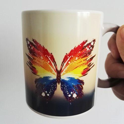 11OZ Magic Ceramic Mug Heat Sensitive Color Change Coffee Tea Mug Cup Printing with Beautiful Butterfly