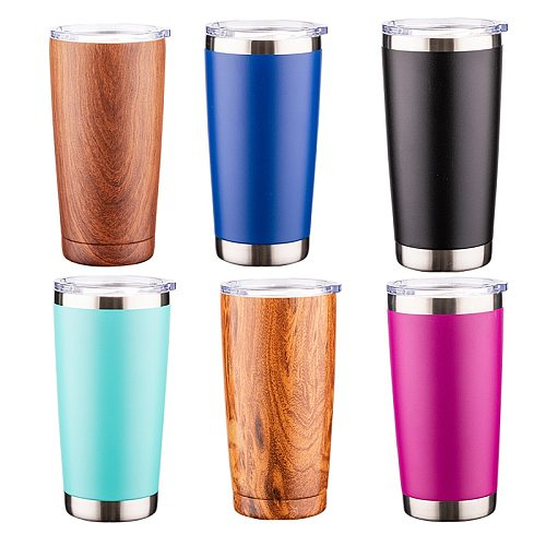 MURRICON 20oz Portable Stainless Steel Wine Tumbler with Seal Lids Double Wall Vacuum Insulated Travel Beer Mug Car Coffee Cup
