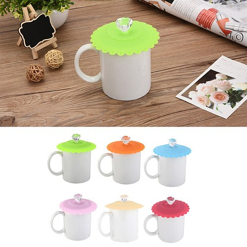 NEW 6 Colors Cute Diamond Designed Fashionable Creative Food-grade Silicone Cup Cover Heat-resistant Safe Healthy Silicone Lids