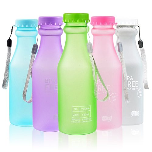 550ML Eco-friendly Durable Frosted Soda Bottle Outdoor Sports Running Travel Tea Bottles Dull Polish Plastic Water Cup Drinkware