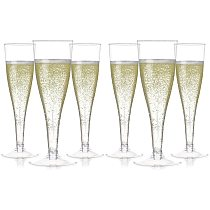6pcs Plastic Champagne Flutes Disposable Clear Cups Toasting Glasses Wedding Baby Shower Party Supplies