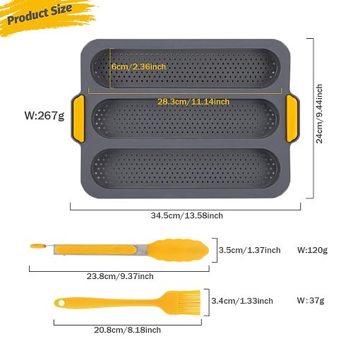 TEENRA 3 Grids Non-stick Silicone French Bread Mould Heat Resistant Baking Pan Toast Bread Moulds Kitchen Bakeware Cake Tools