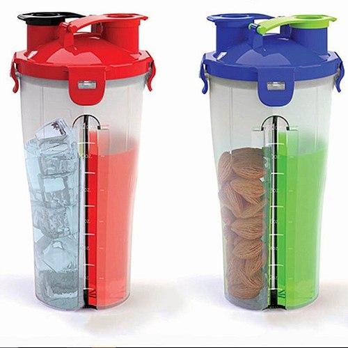 custom logo gym two heads protein shaker bottles 700ml sport spring fitness blender whey protein water bottle with shaker ball
