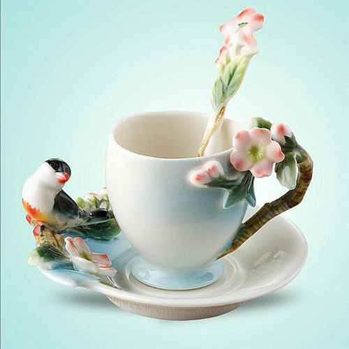 Ceramic Cup Magpies Plum Blossom Enamel color Coffee Cup with Saucer and Spoon European Creative Tea cups tea cup set