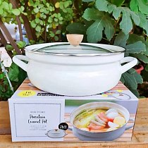 Thick Enamel Enamel Pot Flat Bottom Soup Pot Enamel Stew Pot Porridge Medicine Pot Glass Lid Soup Pot Cute Rabbit Hot Pot