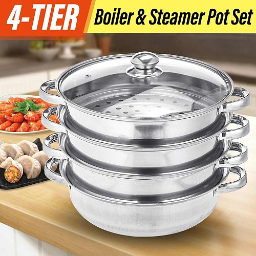 28cm Stainless Steel 4-Tier/Layer Steam cooker pot, Food cook Double Boilder Work with Gas Electric Induction Grill stove