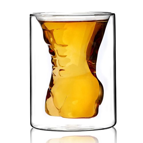 1PC Crystal Muscle Pint Glass Rose Lily Flower Collins Glass Double Insulation Wheat Beer GlassFor Bar Party Juice Container