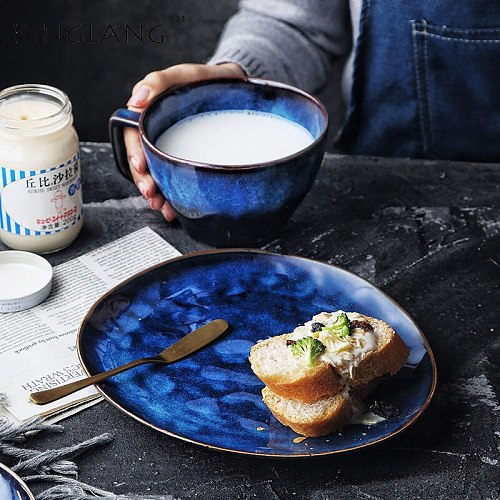 ANTOWALL One person european-style creative western breakfast tableware set household ceramic plate milk cup oatmeal bowl