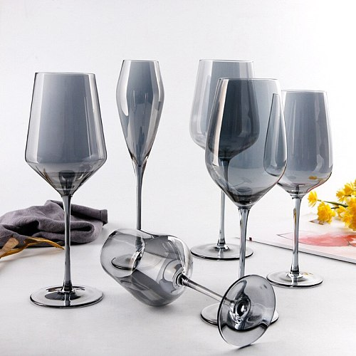 Wine Glasses Set Electroplating Soot Nordic Style Crystal Champagne Goblets Rainbow Cup Ion Plated Red Wine Glass Decanter Gift