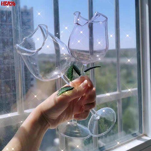 Hot Rose Flower Shape Wine Glass Dolphins Red Wine Goblet Party Mug Cocktail Glasses Storage Rack