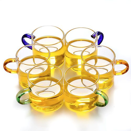 6Pcs 80ml 2.7oz Glass Espresso Tea Cup Set with Handle Coffee Mug for Drinking Beer Whiskey Drinkware Kitchen Tools