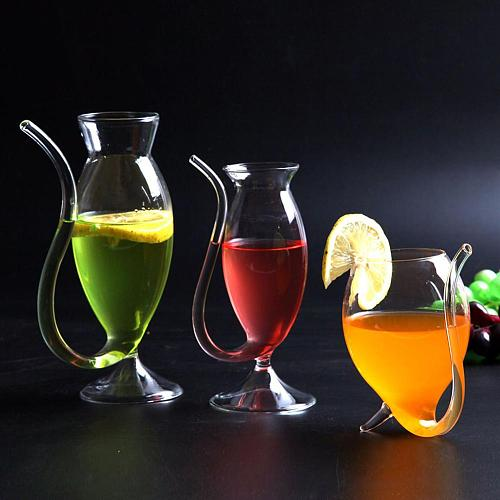 HOT SALE Wine Whiskey Glass Heat Resistant Sucking Juice Milk Drinking Tube Straw Cup Creative Wine Glass High Quality Glass Cup
