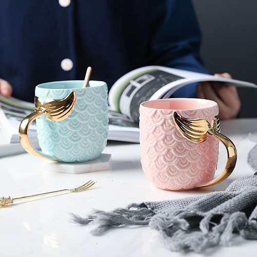 Creative Gold Mermaid Coffee Mug Ceramic Morning Milk Cup Travel Tea Cup Christms Gift For Girlfriend Tableware Home Decor 1pcs