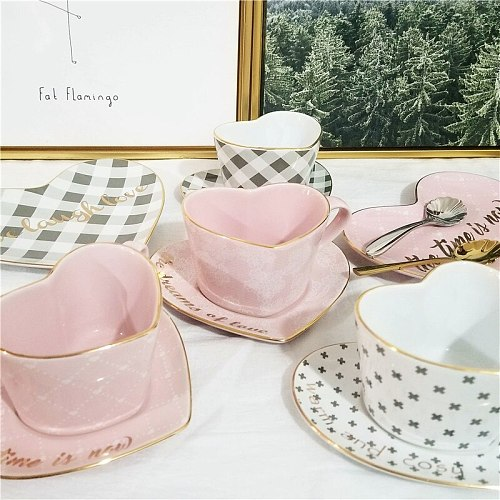 Ceramic Heart-shaped Coffee Cup And Saucer Set Coffee Mug Afternoon Tea Set Ceramic Cup Kitchen Accessories Milk Cup Container