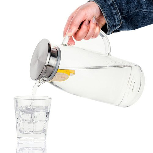 1300/1500/2000ml Transparent Glass Pitcher Hot/Cold Water Jug Kettle Juice Container Bottle Easy To Clean Heat Resistant