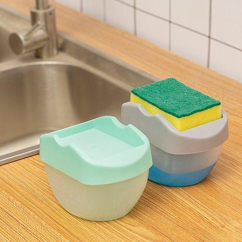 2-in-1 Soap Pump Dispenser with Sponge Holder Hand Press Soap Box Organizer Liquid Dispenser Container Kitchen Cleaner Drosphip