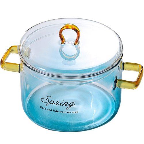 900ml Glass Saucepan Pot With Cover Heat-resistant Casserole Transparent Glass Pot Cooktop Safe For Pasta Noodle Soup Milk